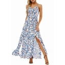 Spaghetti Straps Floral Printed Sleeveless Split Front Maxi Cami Dress