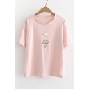 SO SWEET Letter Ice Cream Embroidered Round Neck Short Sleeve Tee
