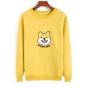 SHIBA INU Letter Dog Printed Round Neck Long Sleeve Sweatshirt