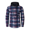 Leisure Plaid Printed Contrast Hood Button Down Long Sleeve Hoodie