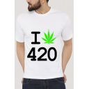 I 420 Letter Leaf Printed Round Neck Short Sleeve Slim Tee