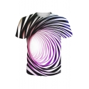 3D Stripe Swirl Printed Round Neck Short Sleeve Tee