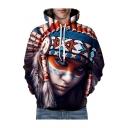 Fashionable Digital Tribal Girl Printed Long Sleeve Unisex Hoodie