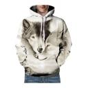 3D Wolves Printed Unisex Long Sleeve Loose Hoodie