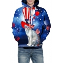 3D Hat Cat Balloon Printed Long Sleeve Leisure Hoodie