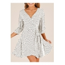 V Neck 3/4 Length Sleeve Polka Dot Printed Tie Waist Mini A-Line Dress