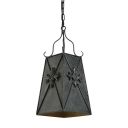 Industrial Weathered Iron 1 Light Hanging Pendant Lamp with Square Metal Shade for Cafe Restaurant