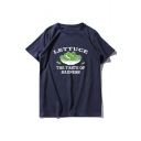LETTUCE Letter Vegetables Printed Round Neck Short Sleeve Tee