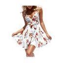 Tied Waist Floral Printed Spaghetti Straps Sleeveless Mini A-Line Dress