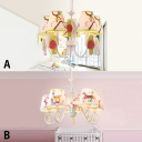 Height Adjustable Shaded Chandelier Lamp with Animal Pattern Kids Children Fabric 5 Lights Hanging Lamp in White