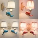 Dolphin 1/2 Light Wall Light Sconce Seaside Blue/Pink Fabric Lighting Fixture for Kids Bedroom