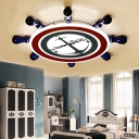 Acrylic Ship Wheel Flush Ceiling Light Boys Room Flush Mount LED Light in Navy Blue