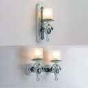 Blue Anchor Wall Light Sconce White Glass 1/2 Light Lighting Fixture for Children Kids Room
