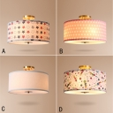 Fabric Drum Semi Flush Light Modern Fashion 4 Light Ceiling Chandelier in Brass for Bedroom