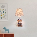 Fabric Coolie Wall Light with Bear Decoration Cartoon Single Light Wall Lamp for Kids Children