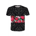 Color Block Floral Printed Round Neck Short Sleeve Tee