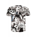 Comic Cartoon Character Printed Round Neck Short Sleeve Leisure Tee