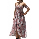 Off The Shoulder Floral Printed Maxi Asymmetric Beach Dress
