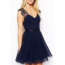 Lace Insert Backless V Neck Sleeveless Mini A-Line Dress