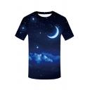 Digital Star Moon Printed Round Neck Short Sleeve Tee