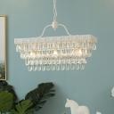 Modern Chandelier Rectangle Crystal Chandelier 3 Light White Pendant Chandelier