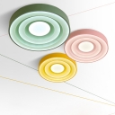 Third Gear Round Ceiling Flush Mount Macaron Colorful Acrylic Flush Light Fixture for Children