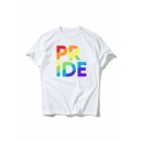 PRIDE Letter Printed Round Neck Short Sleeve Comfort Tee
