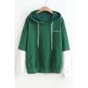LOVE FOREVER Letter Heart Embroidered Color Block Panel Long Sleeve Hoodie