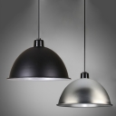 Industrial Hanging Pendant Light Dome Metal Shade, Black/ Silver, One Light