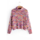 Colorful High Neck Long Sleeve Crop Sweater