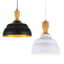 Contemporary Style Restaurant Wooden-Grain Hanging Pendant Light in Black/White Finish