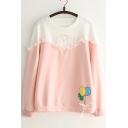 Color Block Mesh Insert Balloon Printed Round Neck Long Sleeve Pullover Sweatshirt