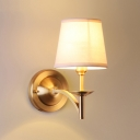 Brass Finish Coolie Wall Mount Light Simplicity Fabric 1 Head Wall Light for Staircase Bedside