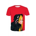 3D Hip Hop Style Character Printed Round Neck Short Sleeve Tee