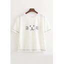 Lovely Cat Face Pattern Short Sleeve Round Neck Leisure Tee