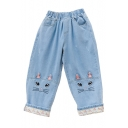 Elastic Waist Loose Cat Embroidered Roll Cuff Crop Jeans