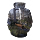 3D Forest Landscape Printed Long Sleeve Loose Unisex Hoodie