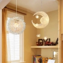 Silver Moon and Star Pendant Light Metallic 1/5 Lights Decorative LED Suspended Lamp for Boys Girls Bedroom