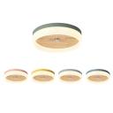 Wooden Circular Flush Ceiling Light Macaron Children Bedroom LED Flush Light Fixture