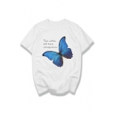 Butterfly Letter Printed Round Neck Short Sleeve Tee