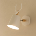 Down Lighting Antler White 1 Bulb Wall Light with Metal Base