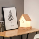 Wood Kids Bedroom Mini Desk Lamp in House Shape