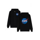 NASA Letter Star Printed Long Sleeve Leisure Hoodie