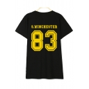 83 Number Letter Printed Round Neck Short Sleeve Unisex Tee