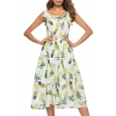 Square Neck Straps Sleeveless Pineapple Printed Midi A-Line Dress