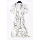 V Neck Short Sleeve Polka Dot Printed Bow Tie Waist Midi A-Line Dress