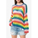 Rainbow Color Printed Round Neck Long Sleeve Hollow Out Sweater