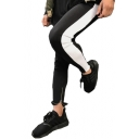 Color Block Zipper Embellished Cuff Skinny Tapered Pants
