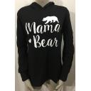 MAMA BEAR Letter Animal Printed Long Sleeve Leisure Hoodie