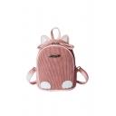 Cute Metal Letter Pattern Embellished Ribbed Corduroy Backpack School Bag